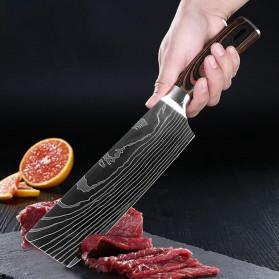 XITUO Pisau Dapur Chef Damascus Pattern - 7 Inch Cleaver Knife - Silver - 8