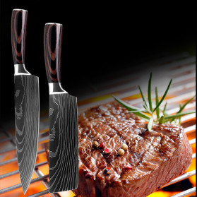 XITUO Pisau Dapur Chef Damascus Pattern - 7 Inch Cleaver Knife - Silver - 9