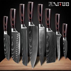 XITUO Pisau Dapur Chef Damascus Pattern - 5 Inch Santoku Knife - Silver - 2
