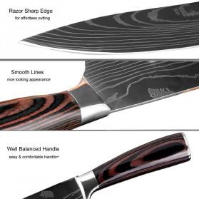 XITUO Pisau Dapur Chef Damascus Pattern - 5 Inch Santoku Knife - Silver - 5
