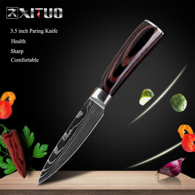 XITUO Pisau Dapur Chef Damascus Pattern - 3.5 Inch Paring Knife - Silver