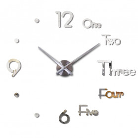 Jam Dinding Besar DIY Giant Wall Clock Underline & Angka 37 Inch - DIY-109 - Silver - 2