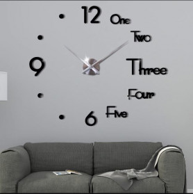 Jam Dinding Besar DIY Giant Wall Clock Underline & Angka 37 Inch - DIY-109 - Silver - 4