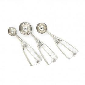 Houseeker Sendok Takar Es Krim Ice Cream Scoop Spoon Diameter 6 CM - Silver - 3