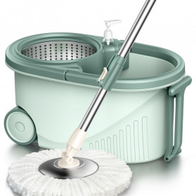 TEITEIRO Alat Pel Magic Rotary Mop 360 Degree Hand Pressure Dry Fiber - TA579 - Green