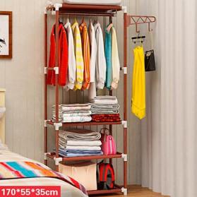 Furniture Rumah - ACTIONCLUB Rak Gantungan Baju Multifungsi Hanger Besi Anti Slip 55x35x170CM - HH3476 - Bronze