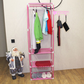 ACTIONCLUB Rak Gantungan Baju Multifungsi Hanger Besi Anti Slip 55x35x170CM - HH3476 - Bronze - 2