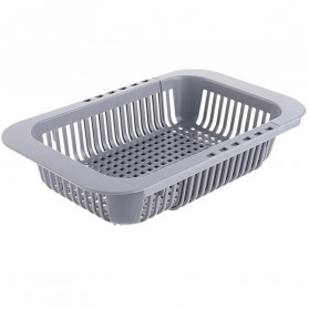 ZMHEGW Rak Pengering Cuci Piring Retractable Kitchen Organizer Drain Basket - CLAZ001 - Gray