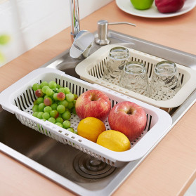 ZMHEGW Rak Pengering Cuci Piring Retractable Kitchen Organizer Drain Basket - CLAZ001 - Gray - 2
