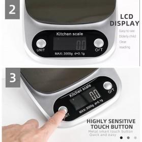 VKTECH Timbangan Dapur Digital Kitchen Scale 3kg 0.1g - C305 - Silver - 2
