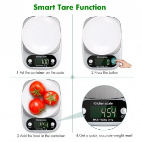VKTECH Timbangan Dapur Digital Kitchen Scale 3kg 0.1g - C305 - Silver - 9