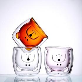 CRATE Gelas Beruang Lucu Anti Panas Double Wall Glass Insulated Cup 250ml - CIQ38 - Brown - 2