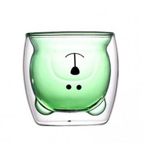 CRATE Gelas Beruang Lucu Anti Panas Double Wall Glass Insulated Cup 250ml - CIQ38 - Brown - 5