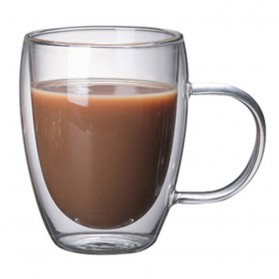 OneTwoCups Gelas Cangkir Kopi Anti Panas Double-Wall Glass Round Series 350ml - Transparent