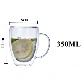 One Two Cups Gelas Cangkir Kopi Anti Panas Double-Wall Borosilicate Glass Round Series 350ml - Transparent - 6