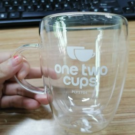 One Two Cups Gelas Cangkir Kopi Anti Panas Double-Wall Borosilicate Glass Round Series 350ml - Transparent - 7