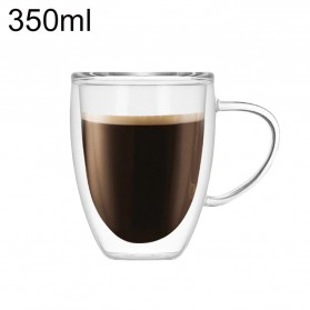 Arshen Gelas Cangkir Kopi Anti Panas Double-Wall Glass Round Series 350ml with Handle - Transparent