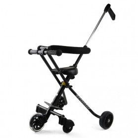 Infant Shining Foldable Children Trolley Baby Stroller Five Wheels with Fence - GCY-W002 - Black - 2