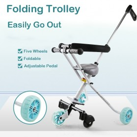 Infant Shining Foldable Children Trolley Baby Stroller Five Wheels with Fence - GCY-W002 - Black - 4
