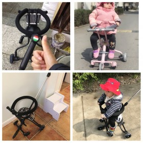 Infant Shining Foldable Children Trolley Baby Stroller Five Wheels with Fence - GCY-W002 - Black - 6