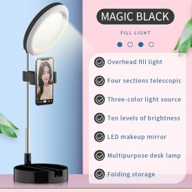 RUIMIO Cermin Selfie Makeup Artist + 64 LED Ring Light + Smartphone Holder - G3 - Black
