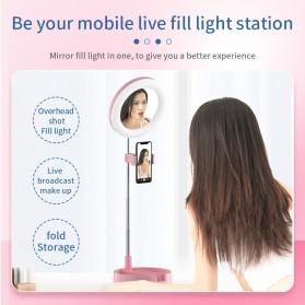 RUIMIO Cermin Selfie Makeup Artist + 64 LED Ring Light + Smartphone Holder - G3 - Black - 5