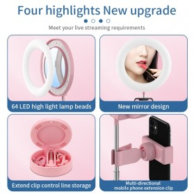 RUIMIO Cermin Selfie Makeup Artist + 64 LED Ring Light + Smartphone Holder - G3 - Black - 6
