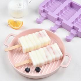 SJ Cetakan Es Krim 3 Hole Silicone Mold Dessert with 50 Popsicle Sticks Model Oval - JSC8004 - 6