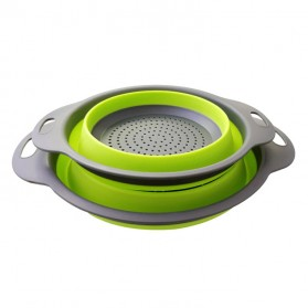 GOUGU Baskom Saringan Lipat Drain Basket Foldable Collapsible Double Bucket Size L - A315 - Green