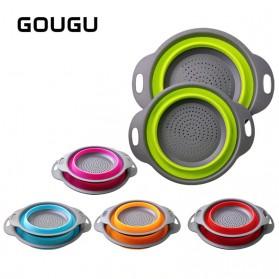 GOUGU Baskom Saringan Lipat Drain Basket Foldable Collapsible Double Bucket Size L - A315 - Green - 2