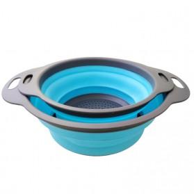 GOUGU Baskom Saringan Lipat Drain Basket Foldable Collapsible Double Bucket Size L - A315 - Green - 3