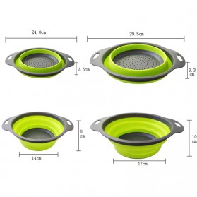 GOUGU Baskom Saringan Lipat Drain Basket Foldable Collapsible Double Bucket Size L - A315 - Green - 4