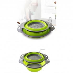 GOUGU Baskom Saringan Lipat Drain Basket Foldable Collapsible Double Bucket Size L - A315 - Green - 5