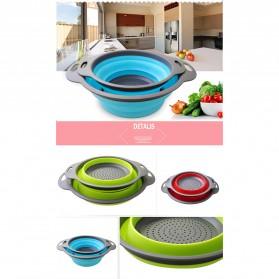 GOUGU Baskom Saringan Lipat Drain Basket Foldable Collapsible Double Bucket Size L - A315 - Green - 6