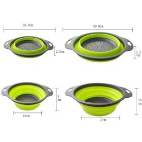 GOUGU Baskom Saringan Lipat Drain Basket Foldable Collapsible Double Bucket Size L - A315 - Green - 7