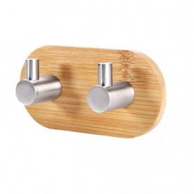 KHGDNOR Gantungan Dinding Hanger Bamboo Stainless Steel Double Hook - S0130T - Silver