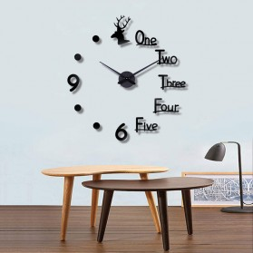 FAROOT Jam Dinding DIY Giant Wall Clock Quartz Creative Design - SI23 - Black