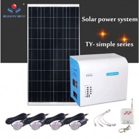 SUNNY SKY Solar Power Lighting System Set Accu Panel Controller 12V 38AH 300W with 4 LED Bulb 3W - TY-056B