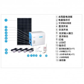 SUNNY SKY Solar Power Lighting System Set Accu Panel Controller 12V 38AH 300W with 4 LED Bulb 3W - TY-056B - 6