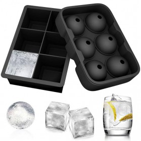 Winzwon Cetakan Es Batu Ice Cube Tray Mold Model Cube + Ball 2 PCS - CW76685 - Black