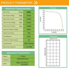 ALLPOWER Flexible Solar Panel 3M Cable 12V 100W  - BPS32 - Black - 3