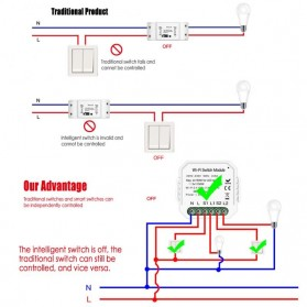 Module Controller WiFi Switch Module Smart Home Control - S2L2 - White - 4