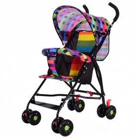 SPARKY Foldable Children Trolley Baby Stroller with Fence - SW517 - Multi-Color