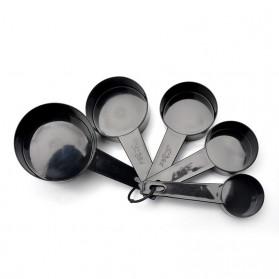 ZISIZI Sendok Takar Ukur Cup Measuring Spoon Size L 5 PCS - CF233 - Black - 1