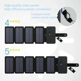 KERNUAP Charger Solar Panel Portable 5 Folding USB Output Port 9W 5V - KER-SO1 - Black - 2