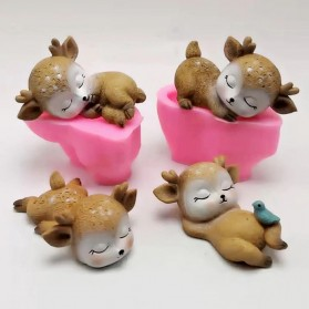 Fan Yong Four Hiasan Dekorasi Kue 3D Gypsum Resin Mold Fondant Cake Decoration Sleeping Deer - CI4 - Chocolate - 2