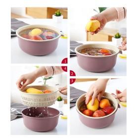 Asy Baskom Saringan Cuci Buah Sayuran Drain Bucket Double Layer Size Large - DP150 - Gray/Blue - 3