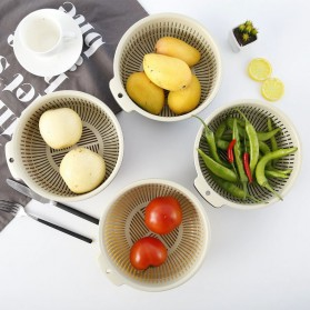 Asy Baskom Saringan Cuci Buah Sayuran Drain Bucket Double Layer Size Large - DP150 - Gray/Blue - 6