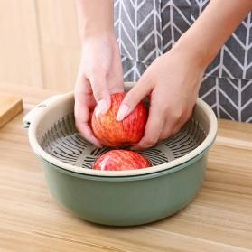 Asy Baskom Saringan Cuci Buah Sayuran Drain Bucket Double Layer Size Large - DP150 - Gray/Blue - 8