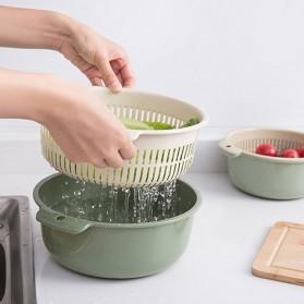 Asy Baskom Saringan Cuci Buah Sayuran Drain Bucket Double Layer Size Large - DP150 - Gray/Blue - 9